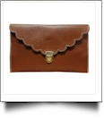 Scalloped Leatherette Envelope Clutch Purse Embroidery Blank With Detachable Gold Shoulder Chain - DARK BROWN