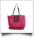 Anchor Print Mesh Tote Bag - BLACK/HOT PINK TRIM - CLOSEOUT