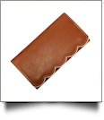 Scalloped Faux Leather Tri-Fold Wallet Embroidery Blank - LIGHT BROWN