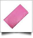 Scalloped Faux Leather Tri-Fold Wallet Embroidery Blank - PINK