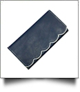 Scalloped Faux Leather Tri-Fold Wallet Embroidery Blank - NAVY