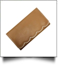 Scalloped Faux Leather Tri-Fold Wallet Embroidery Blank - KHAKI