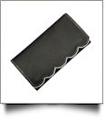 Scalloped Faux Leather Tri-Fold Wallet Embroidery Blank - BLACK
