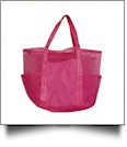 Oversized Multi-Pocket Mesh Beach Tote Bag - HOT PINK