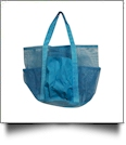 Oversized Multi-Pocket Mesh Beach Tote Bag - TURQUOISE