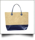 Oversized Faux Leather & Glitter Cork Purse - NAVY - CLOSEOUT