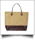 Oversized Faux Leather & Glitter Cork Purse - BROWN - CLOSEOUT