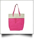 Color Block Tote Bag Embroidery Blanks - HOT PINK