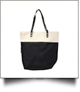 Color Block Tote Bag Embroidery Blanks - BLACK - CLOSEOUT