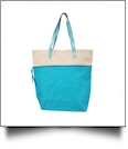 Color Block Tote Bag Embroidery Blanks - TURQUOISE - CLOSEOUT