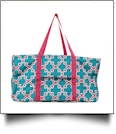 Quatrefoil Print Tailgate & Trivia Night Wireframe Tote - TURQUOISE/HOT PINK TRIM