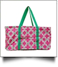 Quatrefoil Print Tailgate & Trivia Night Wireframe Tote - HOT PINK/GREEN TRIM