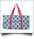 Graphic Print Tailgate & Trivia Night Wireframe Tote - TURQUIOISE/HOT PINK TRIM