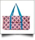 Graphic Print Tailgate & Trivia Night Wireframe Tote - HOT PINK/TURQUOISE TRIM