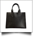 Luxurious Square Faux Leather Handbag Purse - BLACK