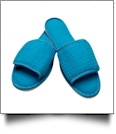 EasyStitch Cotton Waffle Spa Slippers  - TROPICAL BLUE