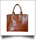 Luxurious Square Faux Leather Handbag Purse - LIGHT BROWN - CLOSEOUT