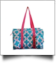 Quatrefoil Print Garden & Craft Multi-Purpose Utility Carry-All Tote - TURQUOISE/HOT PINK TRIM - CLOSEOUT