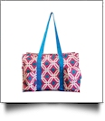 Graphic Print Garden & Craft Multi-Purpose Utility Carry-All Tote - HOT PINK/TURQUOISE TRIM