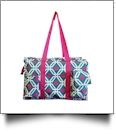 Graphic Print Garden & Craft Multi-Purpose Utility Carry-All Tote - TURQUIOISE/HOT PINK TRIM