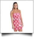Mud Pie Strapless Cover-Up Pink/Orange Leaf - CLOSEOUT