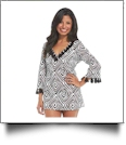 Mud Pie Tassel Tunic Cover-Up in Black Native Diamond - CLOSEOUT