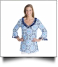 Mud Pie Tassel Tunic Cover-Up Navy & Light Blue Pool Tile - CLOSEOUT
