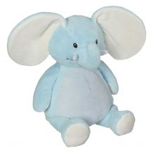 "Embroidery Buddy Stuffed Animal - Elliot Elephant 16"" - BABY BLUE"
