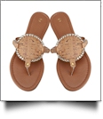 The Coral Palms� EasyStitch Medallion Sandals - CORK/GOLD TRIM