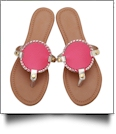 The Coral Palms® EasyStitch Medallion Sandals - HOT PINK/GOLD TRIM - CLOSEOUT