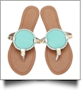 EasyStitch Medallion Sandals - AQUA/GOLD TRIM - PRE-ORDER