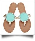 The Coral Palms® EasyStitch Medallion Sandals - AQUA/GOLD TRIM - CLOSEOUT