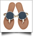 The Coral Palms� EasyStitch Medallion Sandals - NAVY/GOLD TRIM