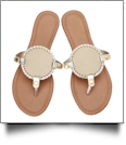 The Coral Palms� EasyStitch Medallion Sandals - APRICOT/GOLD TRIM