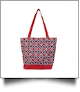 Times Square Print Tote Bag Embroidery Blanks - RED TRIM - CLOSEOUT