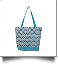 Times Square Print Tote Bag Embroidery Blanks - TURQUOISE TRIM