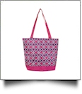 Times Square Print Tote Bag Embroidery Blanks - HOT PINK TRIM - CLOSEOUT
