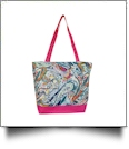 Paisley Print Tote Bag Embroidery Blanks - HOT PINK TRIM