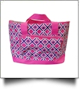 Times Square Print Insulated Cooler Tote Bag Embroidery Blanks - HOT PINK TRIM