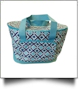 Times Square Print Insulated Cooler Tote Bag Embroidery Blanks - TURQUOISE TRIM