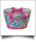 Paisley Print Insulated Cooler Tote Bag Embroidery Blanks - HOT PINK TRIM