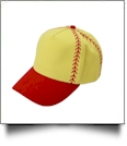 Softball Structured 6 Panel Baseball Hat - RED