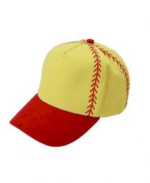 Softball Structured 6 Panel Baseball Hat - RED - CLOSEOUT