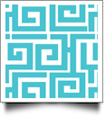 Greek Key Print QuickStitch Embroidery Paper - One 8.5in x 11in Sheet - AQUA- CLOSEOUT