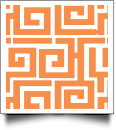 Greek Key Print QuickStitch Embroidery Paper - One 8.5in x 11in Sheet - ORANGE- CLOSEOUT