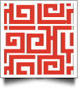 Greek Key Print QuickStitch Embroidery Paper - One 8.5in x 11in Sheet - RED- CLOSEOUT