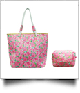 The Floridian Series Beach Tote & Cosmetic Bag Travel Set - RAVISHING ROSES
