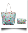 The Floridian Series Beach Tote & Cosmetic Bag Travel Set - AQUA SAILS