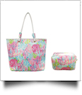 The Floridian Series Beach Tote & Cosmetic Bag Travel Set - PASTEL CORAL - CLOSEOUT