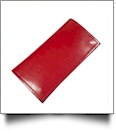 Luxurious Square Cornered Faux Leather Tri-Fold Wallet Embroidery Blank - RED